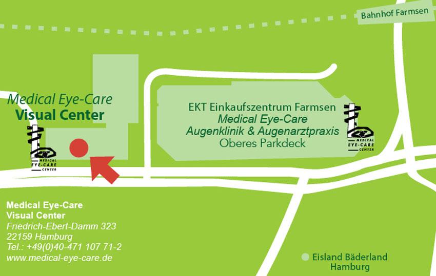 Wegbescheibung zur Sehschule und Kontaktlinsenabteilung im neuen Medical Eye-Care Visual Center im Friedrich-Ebert-Damm 323, 22159 Hamburg